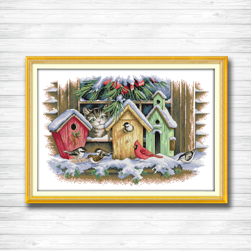 A cat and a bird house painting 14CT11CT counted cross stitch kits embroidery set Needlework Set chinese cross stitch Home decor