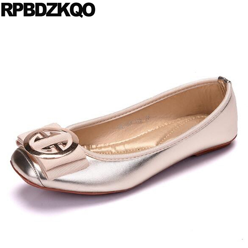 727d134b319 Ballerina Square Toe Walking Moccasins Metallic Large Size Shoes Women  Designer Foldable Ballet Flats 10 Wide