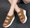 2016 Moda Cuero Genuino de Las Sandalias De Cuñas Plataforma Femeninos Zapatos de Plataforma Zapatos de Las Mujeres