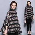 JIBAIYI buena calidad camisas de la gasa de las mujeres 2017 más el tamaño floral capa de gran tamaño blusas marca tops grande blusa elegante dama de Ucrania
