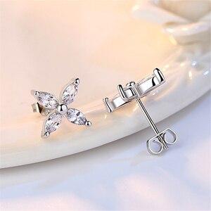 Женские серьги-гвоздики с серебряным покрытием NEHZY, серьги-гвоздики с четырехлистным клевером в виде ЛЕДЯНОГО ЦВЕТКА 925 пробы, минимализм