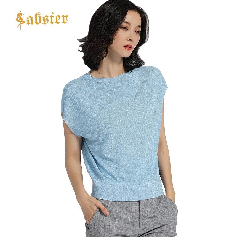 Bat Sleeve   T  -  shirt   Women Soft Elegant Rib Knit Top Tees 2018 Summer O Neck   T     shirt   Women Ice Silk   T  -  shirts   Female Casual Tops
