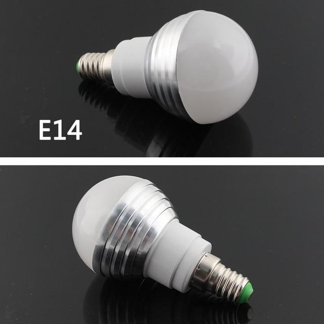 Smart Home 12 V Led Lamp Bulbs E27 E14 RGB Led Lamp bulb montion Sensor E27 E14 110V 220V 3W With 24Key Remote Control