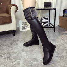 Women's Winter Boots 2016 New Over The Knee Heel Booties for Women Fashion Flat Thigh High Boots Black Shoes Female with Fur