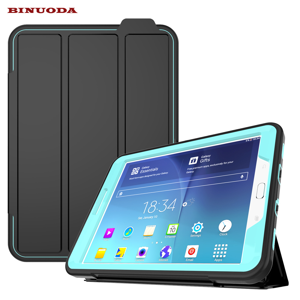 New Magnetic Smart Cover For Samsung Galaxy Tab S2 8.0 Case Shockproof Heavy Duty Rubber Hard Case SM-T715 T710 Auto Wake /Sleep metal ring holder combo phone bag luxury shockproof case for samsung galaxy note 8