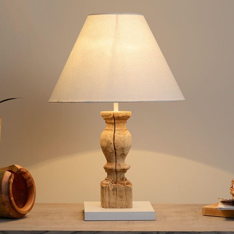 Натуральный экзотический Таиланд ручной работы оригинальный тикового дерева светодиодные E27 Настольная лампа для Гостиная Спальня бар исс...