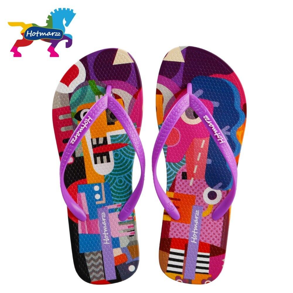 Flip-flops Aktiv Hotmarzz Frauen Designer Cartoon Graffiti Druck Flip-flops Sommer Hausschuhe Strand Sandalen Schuhe 2018 Nicht-slip Rutschen MöChten Sie Einheimische Chinesische Produkte Kaufen?