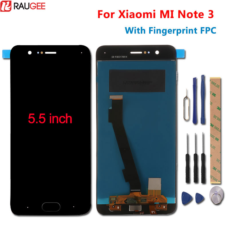 For Xiaomi Mi Note 3 LCD Display+Touch Screen With Fingerprint FPC Test Good Digitizer Screen Panel For Xiaomi Mi Note 3 5.5''