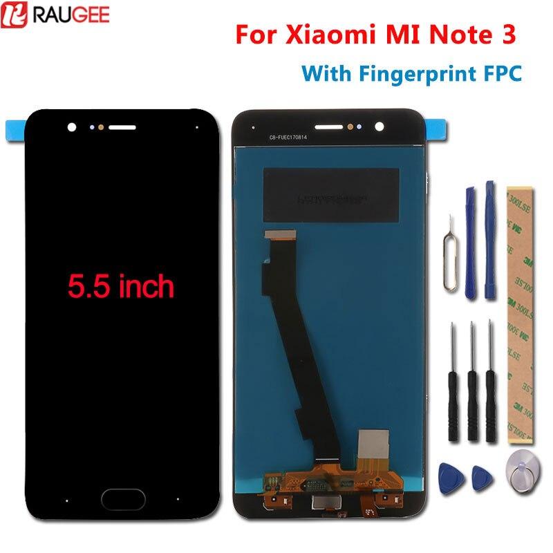 Pour Xiao mi Note 3 écran LCD + écran tactile avec empreinte digitale FPC Test bon panneau d'écran numériseur pour Xiao mi mi Note 3 5.5''