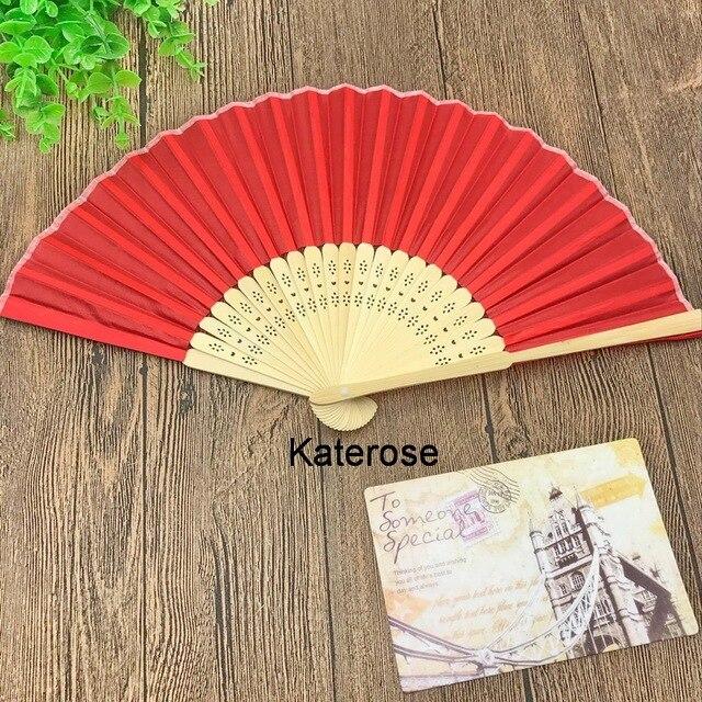 80pcs Lot Free Shipping Wedding Favors Personalized Silk Fan Fabric Hand Folding