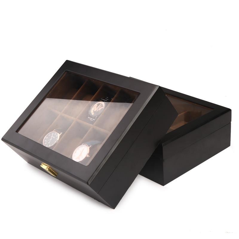 Top qualité 6/10/12 grilles montre stockage montre organisateur vitrine boîte en cuir luxe montre boîte pour titulaire Valentine cadeau - 3