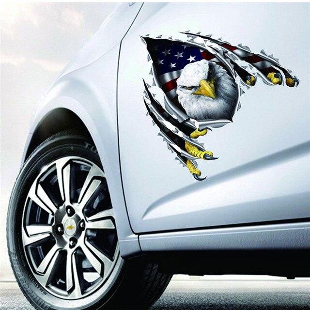Fashion Car Decal Flying Hawk Auto Truck Hood Side Eagle Usa Flag Sticker Automobiles Stickers Est