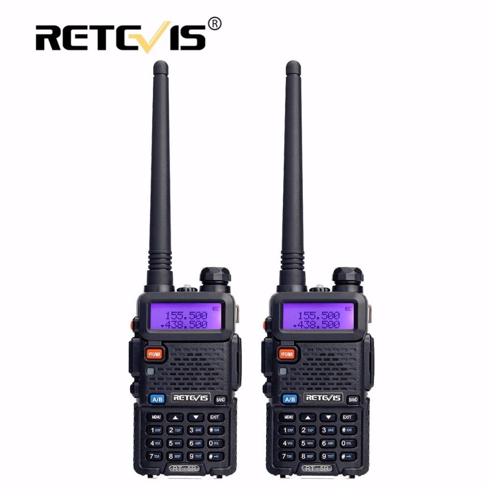 2pcs Retevis RT5R Portable Walkie Talkie 5W 128CH VHF UHF Dual Band Handy Ham Radio Hf