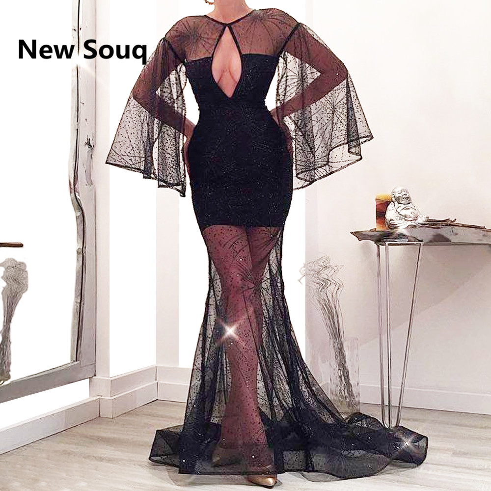 Black Sequin Mermaid   Prom     Dresses   Illusion Tulle Puffy Long Sleeves Evening Gowns 2019 Sexy   Prom     Dress   Custom Made   Dress
