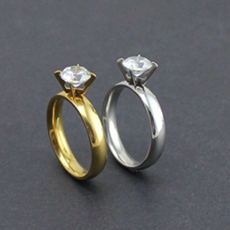 fashion women rings with stone stainless steel ring men wholesale wedding rings jewelry for girls gifts hot sale online - Online Wedding Rings