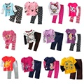 2017 Baby Girls Clothes Sets 23 4 5 6 7 Years Children T Shirt Pant Suit Kids Pajamas Suit 100% Cotton Girl T-Shirt Tops