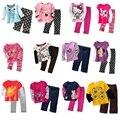 2017 bebé ropa de las muchachas fija 23 4 5 6 7 años niños Camiseta Traje Pantalón Pijama Traje de Los Niños 100% Algodón Camiseta de La Muchacha Tops