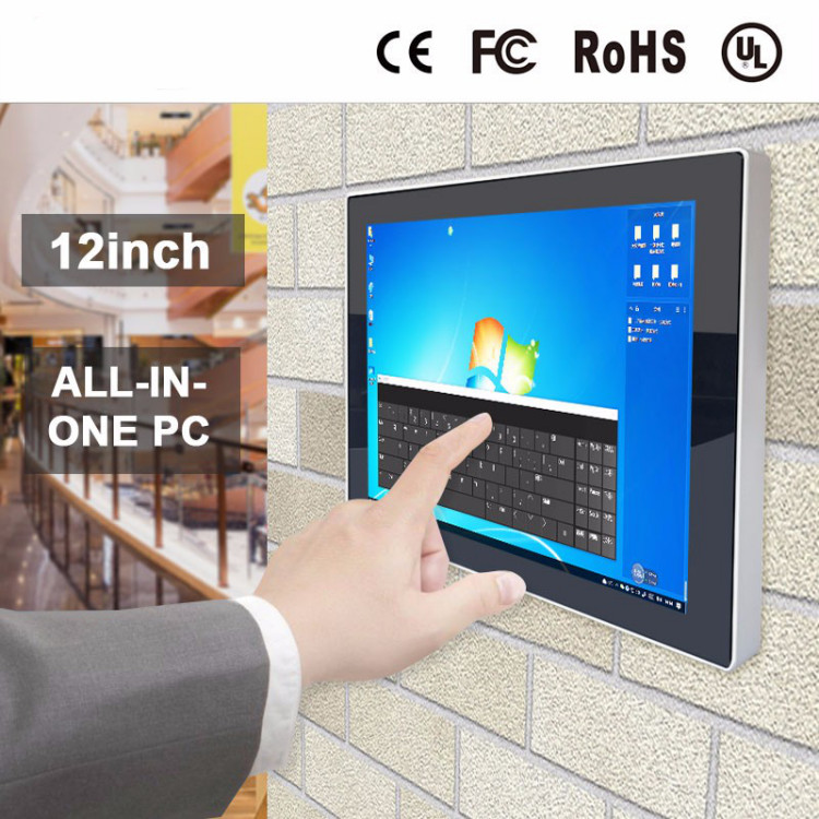 Win7 / 10 OS 12 Inch Multi Touch Screen All In 1 Mini Pc With Rs232 Network Interface