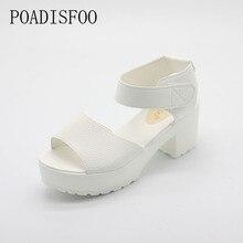 POADISFOO sandals women Summer shoes Woman wedges platform sandals square high heel  white black women shoes thick heel .XL-21