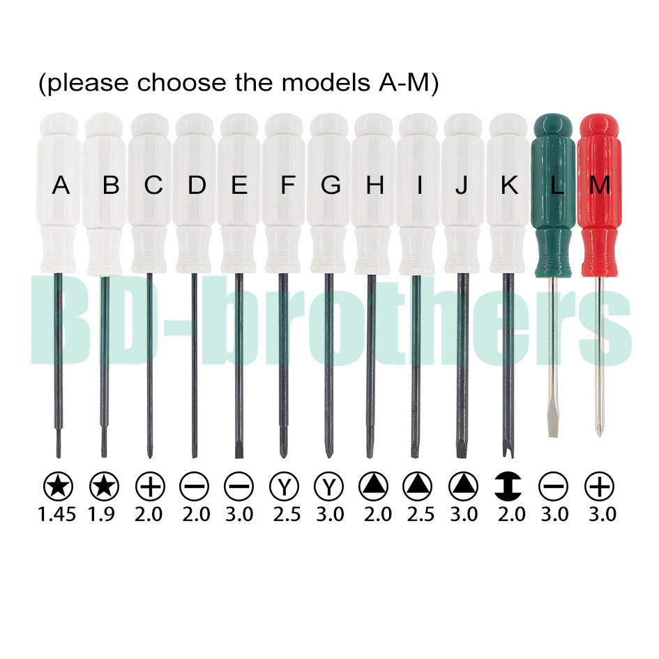 1.45/1.9 Five Point Star Phillips / Flathead Screwdriver 2.5 / 3.0y 2.0/ 2.5 /3.0 Triangle 2.0 U H Special Key 192pcs/lot Pure Whiteness