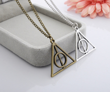 Hot selling Harry Potter films relics of death triangle long necklace chain necklace Metal gifts free shipping+Free Delivery(China (Mainland))