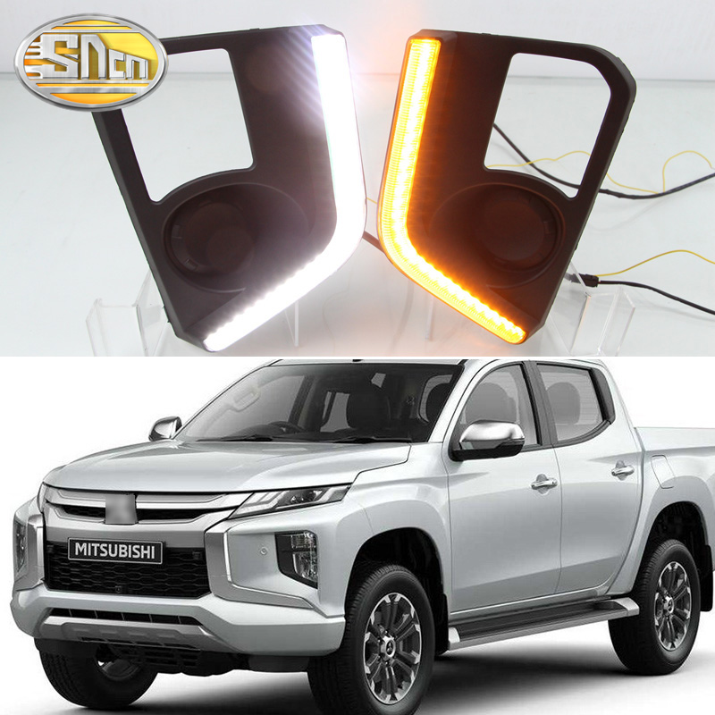 For Mitsubishi Triton L200 2019 LED DRL Daytime Running Lights Fog Lamp Cover with Yellow Turn Signal Lamp
