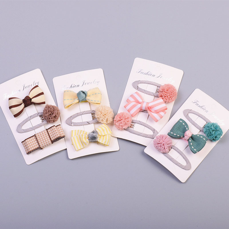 Cute Girls Bowknot Hair Pins and Clips Set Yellow Baby Kids Lace Flower Barrette Hairgrips Pink Child Headwear Hair Accessories