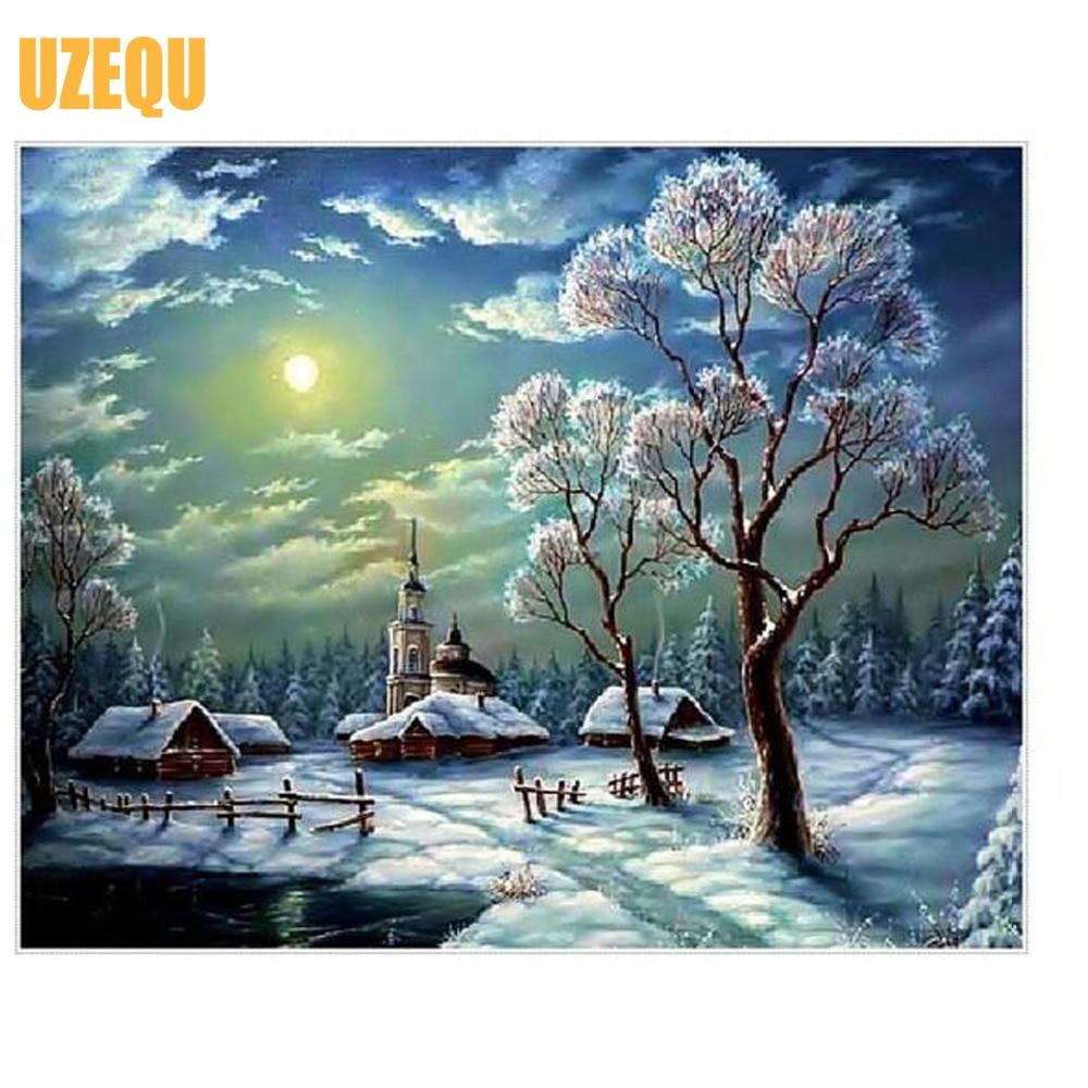 UzeQu Full Diamond Broderi Vinterlandskap 5D DIY Diamantmålning - Konst, hantverk och sömnad