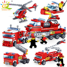 348pcs Fire Fighting 4in1 Trucks Car Helicopter Boat Building Blocks Compatible city Firefighter figures children Toys(China)