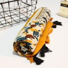 Kyqiao cachecol longo estampado de gengibre, estilo pastoralismo, hijab, feminino, inverno, boho, silenciador