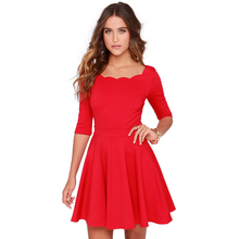HOT 2016 summer european style half sleeve ruffled neckline A-line party evening casual dresses for women girls plus size 4275