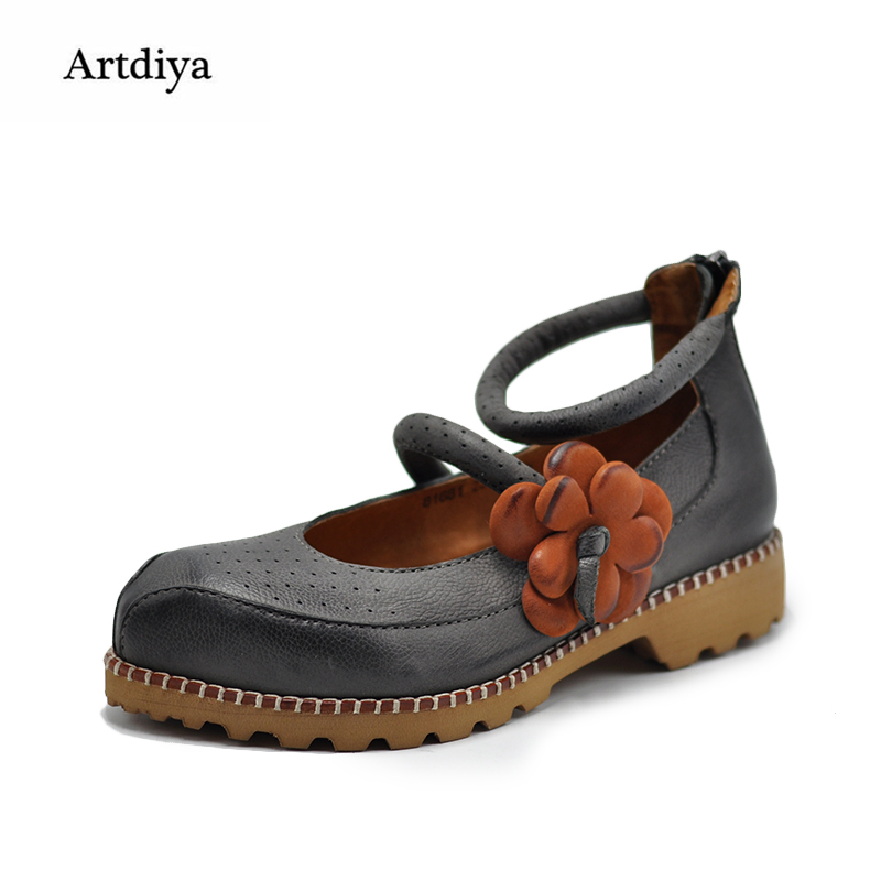 Artdiya Original 2018 Spring New Female Flower Shallow Mouth Shoe Retro Handmade Personality Genuine Leather Women Shoes 81681 artdiya 2018 spring new women s shoes genuine leather handmade retro elastic band rubber flat shoes b292 2