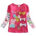 Мода девушки майка 2016 новый стиль с милой вышивкой для девочка дети весной и осенью одежды ребенок футболка enfant