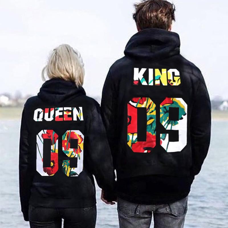 Spring Cotton Sweatshirt QUEEN KING Letters Printing Hooded Unisex Fashion Long Sleeve Loose Couples Casual Pullover M-XXXL