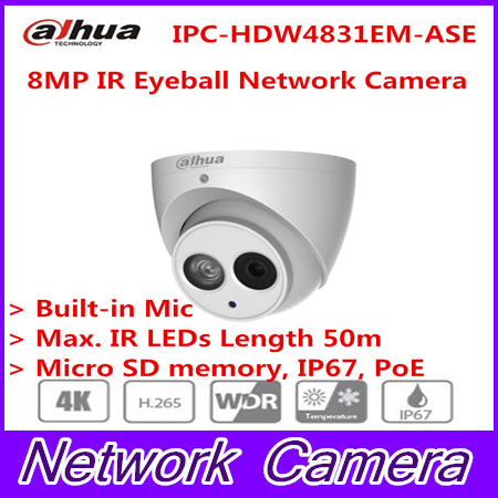 Dahua 2017 New Arriving cameras 8MP IR Eyeball Network Camera IPC-HDW4831EM-ASE free DHL shipping