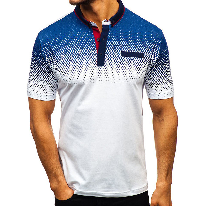 Aoliwen Brand Men 2019 The New Men Printing Polo Gradient High Quality 95%cotton Summer Casual Polo For Men Breathable Fashion
