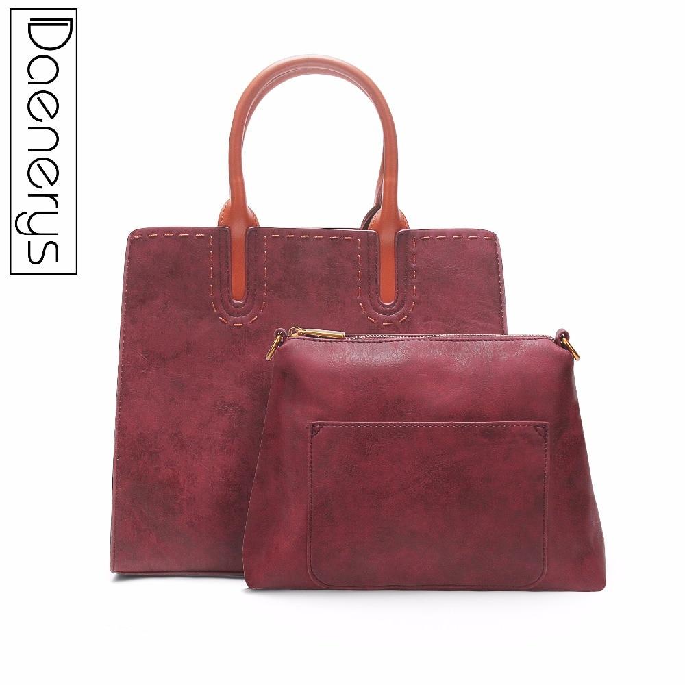 Daenerys Women Handbags Female Shoulder Cross Body Bag For Girls Ladies Totes Bags 2018 Fashion 2 Pcs/Set Wine Hotsale