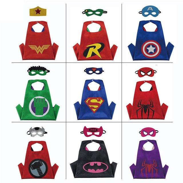 Crianças Capes Anime Comic Super hero hero Capa do Livro & Crianças Máscara Fancy Dress Outfit Super hero Traje Capa Preta cosplay Presente