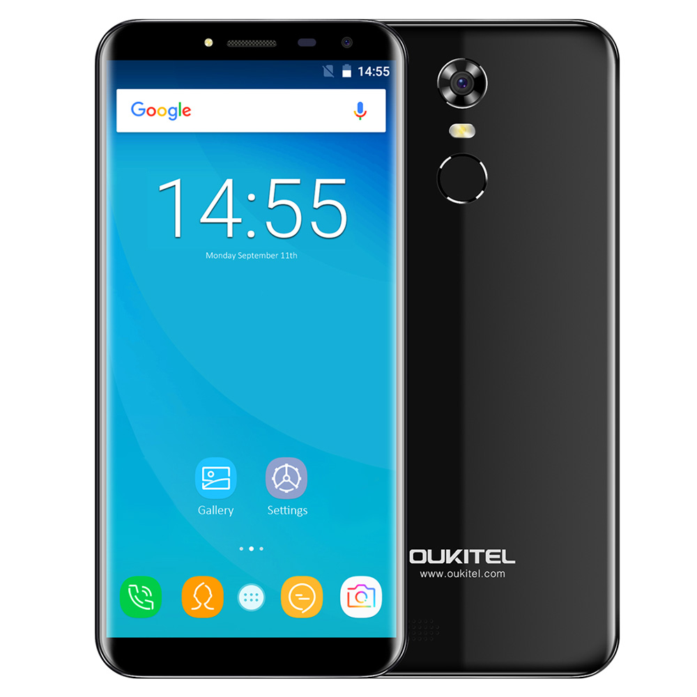 OUKITEL C8 3G Smart Phone 5.5 inch 2.5D Arc Screen Android 7.0 MTK6580A 1.3GHz Quad Core 2GB 16GB Fingerprint 8.0MP Rear Camera