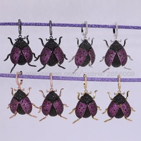 New High QualityMicro Pave CZ Tiny Bugs Insect Earrings Lifelike Insect Jewelry Beetles Fashion Earrings Gift