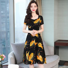 2019 New Women Floral Slim A-line Dress Short-sleeved O-neck Summer And Autumn Temperamental Lady