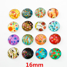 10pcs Mixed 16mm Round Tree Flower Pattern Glass Patch Cover Cabochons Cameo Jewelry Findings