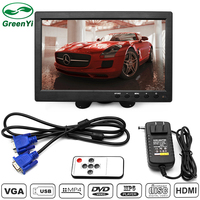 GreenYi 10 Inch 1024*600 HDMI Car Monitor with Brand New Screen Slim Design UV Coating, Suitable For Monitoring, ETC.