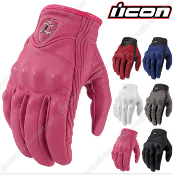 0d1f80ec6b76a ICON Goat Leather Pursuit Stealth summer Pink Ladies Glove Motorcycle  motorbike Motocross gloves for women madam S M L
