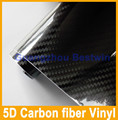 Free shipping Ultra Gloss 5D Carbon Fiber Vinyl Wrap Super Glossy 5D Carbon Wraps like real Carbon with Air Bubble Free