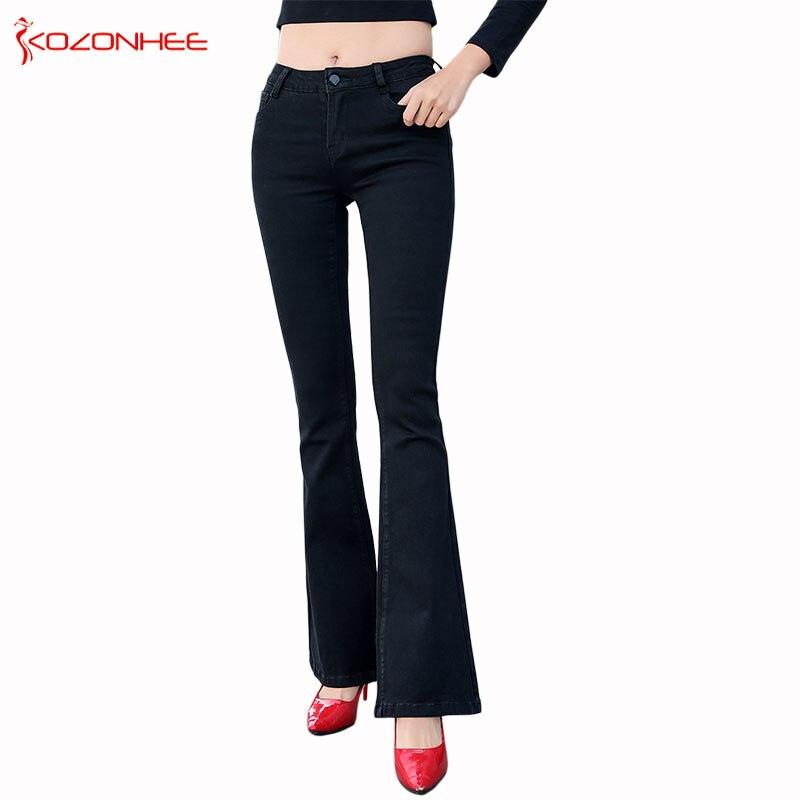 Largo Negro Negro blanco Estiramiento 1 pantalones Baja 9099 Niñas Elasticidad Elástico Flare Mujeres Pantalones Bell Vaqueros Cintura Para aqq0FT5w