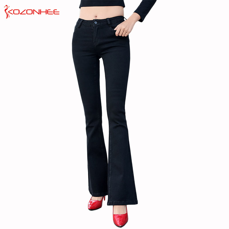 Stretch Elastic Black Flare Jeans Low waist  Women Long elasticity Bell Bottoms Jeans For Girls Trousers Women Jeans #1 9099-in Jeans from Women's Clothing