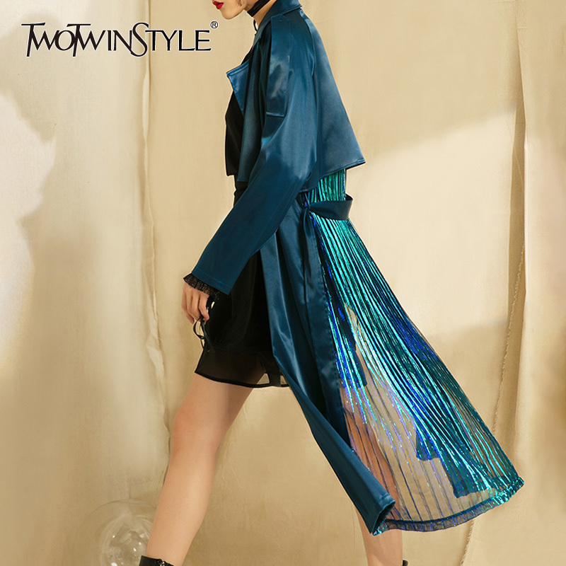 TWOTWINSTYLE Fashion Patchwork Pleated Women Windbreaker Coat Long Sleeve Lace up   Trench   Female Overcoat 2018 Spring Autumn New
