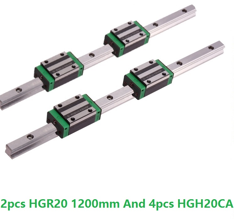 2pcs Linear Guide Rail HGR20 -L 1200MM And 4pcs HGH20CA Linear Narrow Slide Blocks CNC Router Parts2pcs Linear Guide Rail HGR20 -L 1200MM And 4pcs HGH20CA Linear Narrow Slide Blocks CNC Router Parts