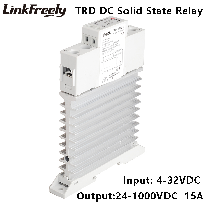 TRD1000D15M1 Single Phase DC Solid State Relay SSR 15A DC Control DC Input 4-32VDC Output 24-1000VDC Integraed Heat Sink Relay стоимость